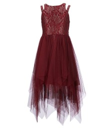 Bonnie Jean Burgundy Double Shoulder Strap Hi-Low Strips Dress