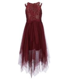8271d7b6c566 ... Bonnie Jean Burgundy Double Shoulder Strap Hi-Low Strips Dress