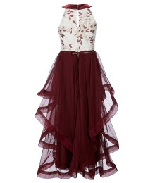 Xtraordinary Wine Cream Embroidered Illusion Bodice High Low Dress