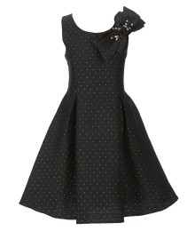 Truly Me Black Gold Dots Shoulder Bow Dress