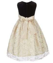 Jayne Copeland Gold Velvet Lace Bow Waist Dress