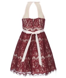 Rare Editions Burgundy Sleeveless Lace Dress