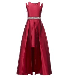 Rare Editions Wine Sequined Waist Walk Through Dress