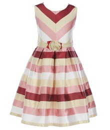Bonnie Jean Ivory/Oxblood/Multi Striped Dress
