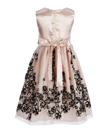 Jayne Copeland Blush Floral Black Embroidered Dress With Bow