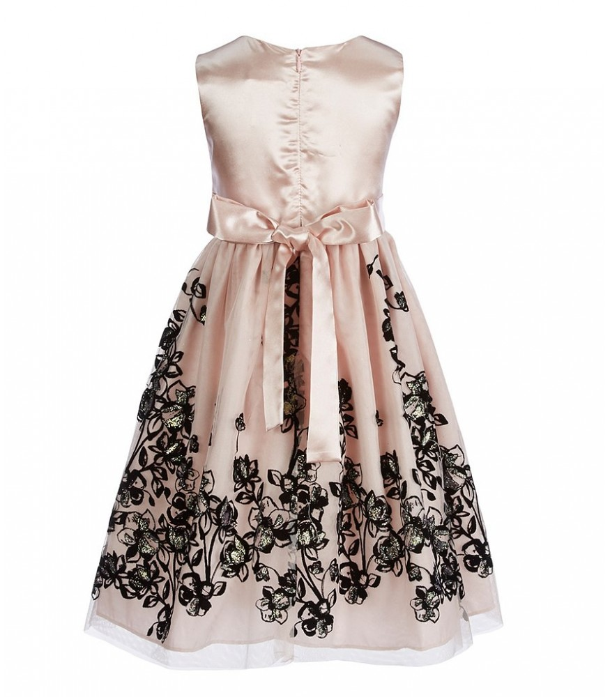 4332dae1611 Jayne Copeland Blush Floral Black Embroidered Dress With Bow. ₦16