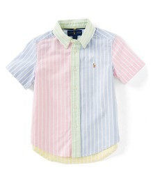 Polo Ralph Lauren Pink/Green/Blue/Yellow/White Multi Stripe Short Sleeve Shirt