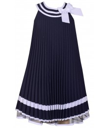 Bonnie Jean Blue Pleat With Blue & White Collar Nautical Pleated Dress
