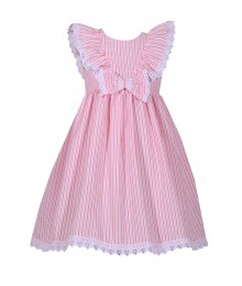 Bonnie Jean Pink Stripe Ruffle With White Lace Trim Seesucker Dress