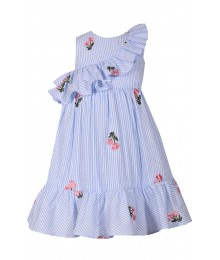 Bonnie Jean Light Blue Stripe Ruffle Seesucker With Flower Emb. Dress