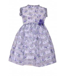 Bonnie Jean Purple/Lavender Shadow Stripe Print Dress