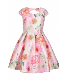 Bonnie Jean Pink Floral Peek A Boo Flared Dress