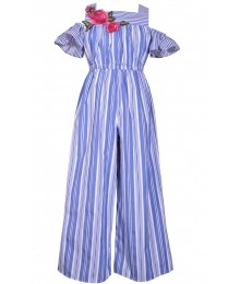 Bonnie Jean Blue/White Stripe With Floral Chest Cold Shoulder Jumpsuit