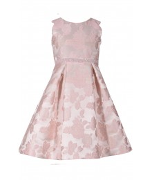 Bonnie Jean Pink Damask Scalloped Sleeveless Beaded Waist Dress