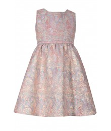 Bonnie Jean Blush Stoned Waist Bow Back Brocade Dress
