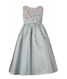 Bonnie Jean Aqua Green With Gold/Cream Embroidered Floral Bodice