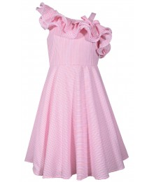 Bonnie Jean Pink Stripe Ruffle Seesucker Dress  Big Girl