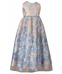 Bonnie Jean Blue Beaded Waist Net Embroidered Dress
