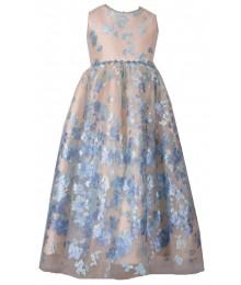 241c4a33106 Bonnie Jean Blue Beaded Waist Net Embroidered Dress