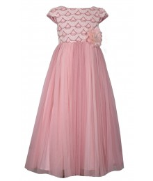Bonnie Jean Pink Sequin Bodice Maxi Tulle Dress