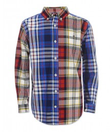 "Tommy Hilfiger Blue/Red Multi Plaid Shirt With ""H"" Back Sign  Little Boy"
