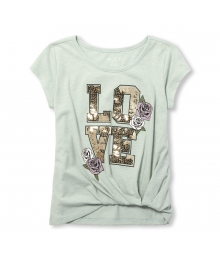 Childrens Place Mint Gathered Hem Embellished Graphic Top