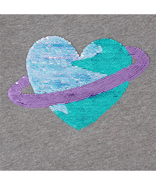 Childrens Place Grey Wt Heart Flip Sequin Graphic Top