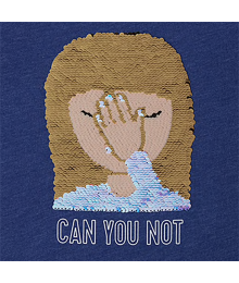 "Childrens Place Navy ""Can You Not"" Flip Sequin Emoji Graphic Top"