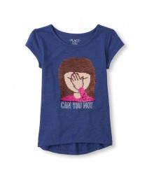 "Childrens Place Navy ""Can You Not"" Flip Sequin Emoji Graphic Top Little Girl"