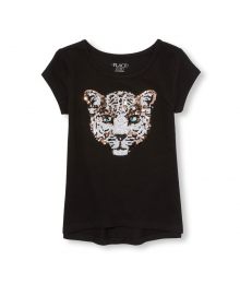 Childrens Place Black Leopard Face Sequin Graphic Top