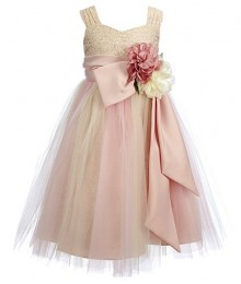 Chantilly Place Blush Brocade Ruffled Bow Dress
