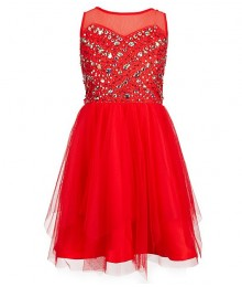 Tween Diva Coral Illusion Neck Beaded Dress