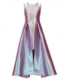 Tween Diva Pink Silver Metallic Split Shoulder Walk Through Dress