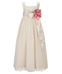 Chantilly Place Champagne Brocade Ruffled Bow Dress