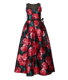 Rare Edition Black/Green/Red Roses Floral Long Dress   Big Girl