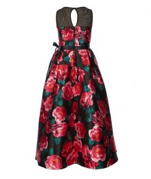 Rare Edition Black/Green/Red Roses Floral Long Dress