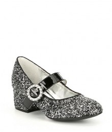Nina Girls Black/Silverglitter Dots Shoes