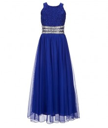 Xtraordinary Cobalt/Blue Beaded Lace Black Tulle Overlay Maxi Dress