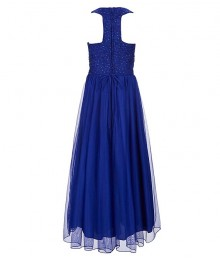 Xtraordinary Cobalt/Blue Beaded Lace Black Tulle Overlay Maxi Dress  Little Girl
