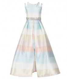 Rare Editions Ivory Metallic Rainbow Stripe Split Shoulder Jewelled Waist Walk Through Dress