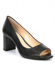 Alex Marie Black Leather Peep Toe Block Heel Pumps