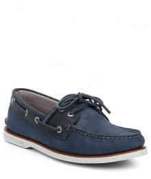 Sperry Top-Sider Blue/Navy Gold Cup Nubuck/Suede Original Boat Shoe - Adult Sizes Shoes
