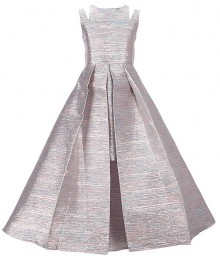 Rare Editions Pink Metallic Jacquard Pleated Overlay Dress