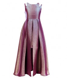 Rare Editions Magenta/Lilac Metallic/ Iridescent Two Tone Split Shoulder Walk Through Dress