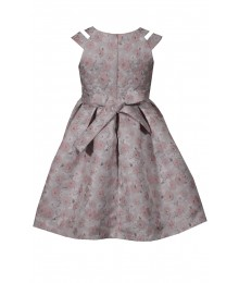 Bonnie Jean Pink Floral Double Strap Beaded Neck Brocade Pleated Dress