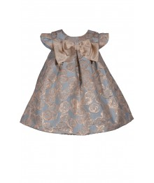 Bonnie Jean Blue/Gold Pleated Brocade Front Bow Dress   Little Girl