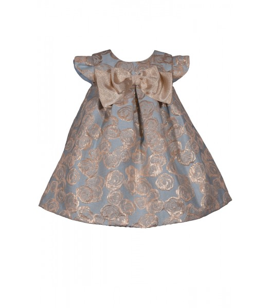 Bonnie Jean Blue/Gold Pleated Brocade Front Bow Dress