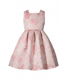 Bonnie Jean Gold Wt Pink Floral Petals Back Bow Open Back Pleated Dress