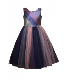Bonnie Jean Navy/Purple/Silver/Bronze Mettallic Studded Waist Ombre Dress