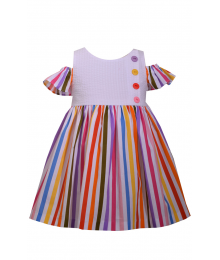 Bonnie Jean Multi/White/Rainbow Striped Cold Shoulder Dress